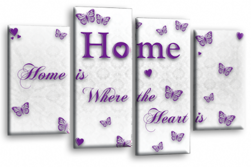 Home Quote Wall Art Print White Purple Love Split Picture